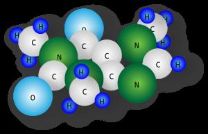 Modelldarstellung eines Moleküls Koffein